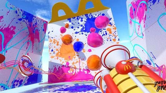 People were asked to decorate the inside of a Happy Meal box using VR paint tools at the McDonald's Loft at SXSW.