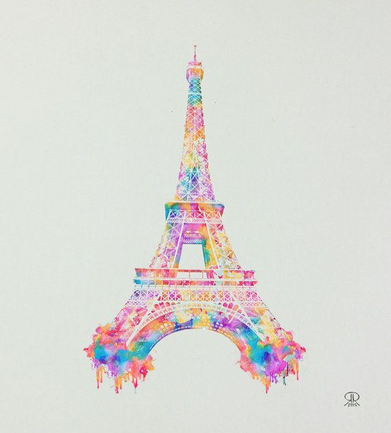 13x14 inch Eiffel Tower High Quality Print by Ronald by DLizArt