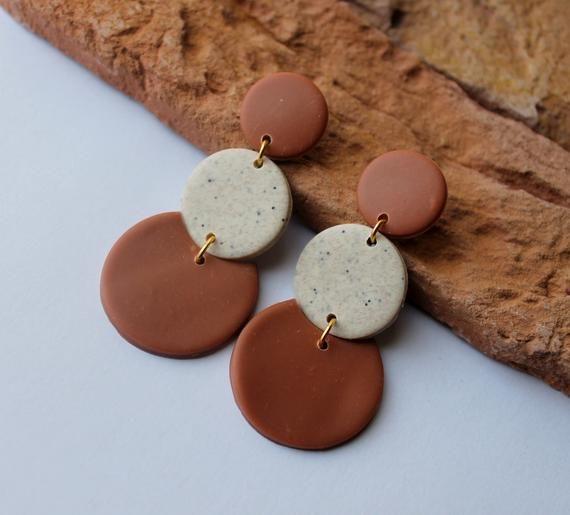 Polymer Clay Earrings, Modern Design Dangles, Mustard Granite Brown Earrings. Hoop Earrings, Statement Earrings, Minimalist Earrings
