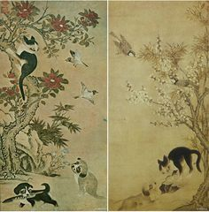 화조묘구도(花鳥猫狗圖) Koran folk panting: flower, bird, cat and dog