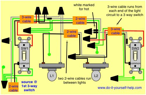 wiring diagram 3 way with 2 lights | remodel | pinterest, Wiring diagram