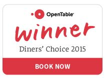 """Thank you for voting us """"Diners Choice 2015"""" on OpenTable!  Cheers!"""