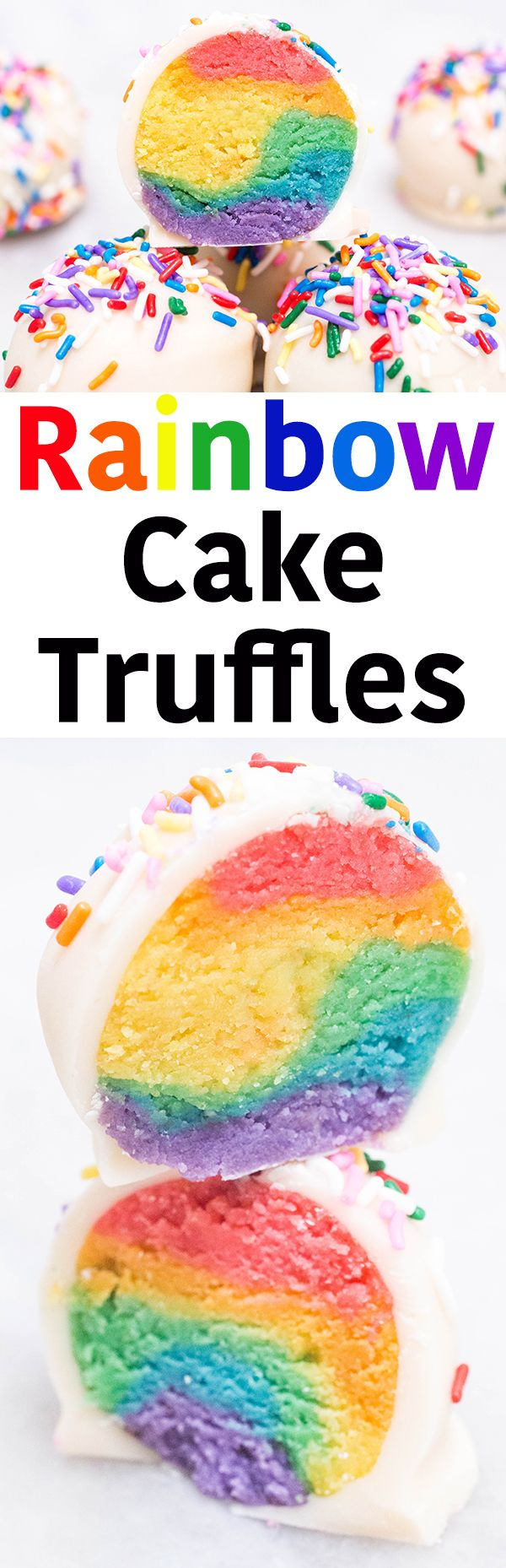 These colorful and tasty rainbow cake truffle desserts are a breeze to make! Like a cake pop without the stick.Great birthday recipe! Easy to follow recipe instructions and photos.