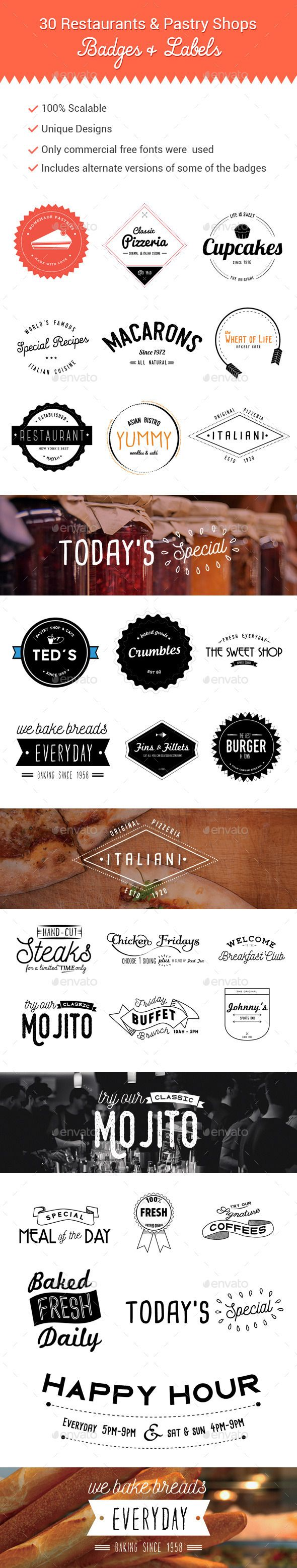 30 Restaurants and Pastry Shops Badges and Labels #badges #labels Download: http://graphicriver.net/item/30-restaurants-and-pastry-shops-badges-and-labels/10940011?ref=ksioks