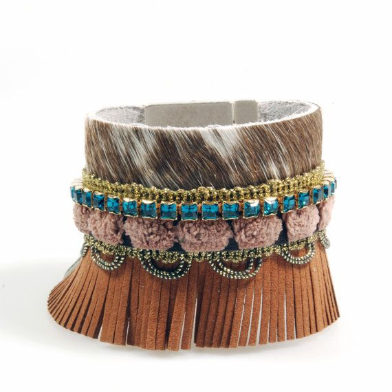 Leather cuff hide  - New nomads style trend - bohemian style bracelet - with fringe Swarovski - brown, petrol - western style on Etsy, $67.72