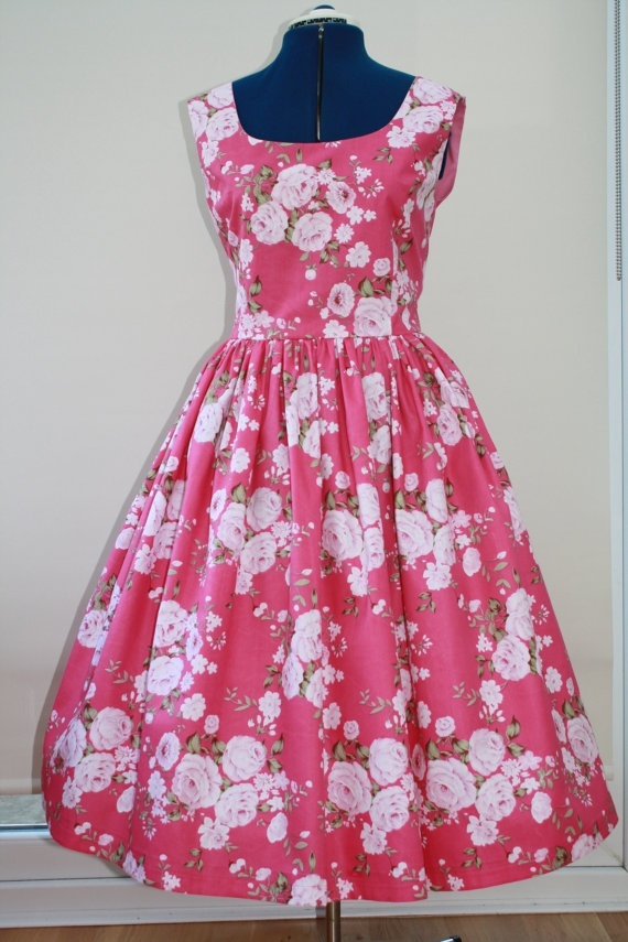 1950s style pink floral day dress with full by SallySweetlove, 50.00: Full Skirts, 1950S Inspiration, 1950S Style, 1950 S Style, 1950 S Inspiration, Day Dresses, Pink Floral, Style Pink, 42 00