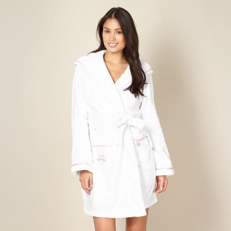 White Short Cotton Robe   Fashideas.com