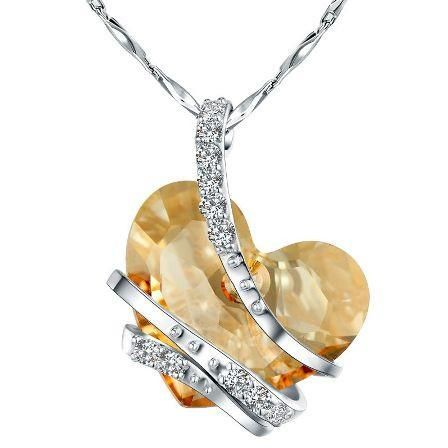"""""""Forever in Love"""" White Heart Swarovski Elements Sterling Silver Pedant Necklace"""