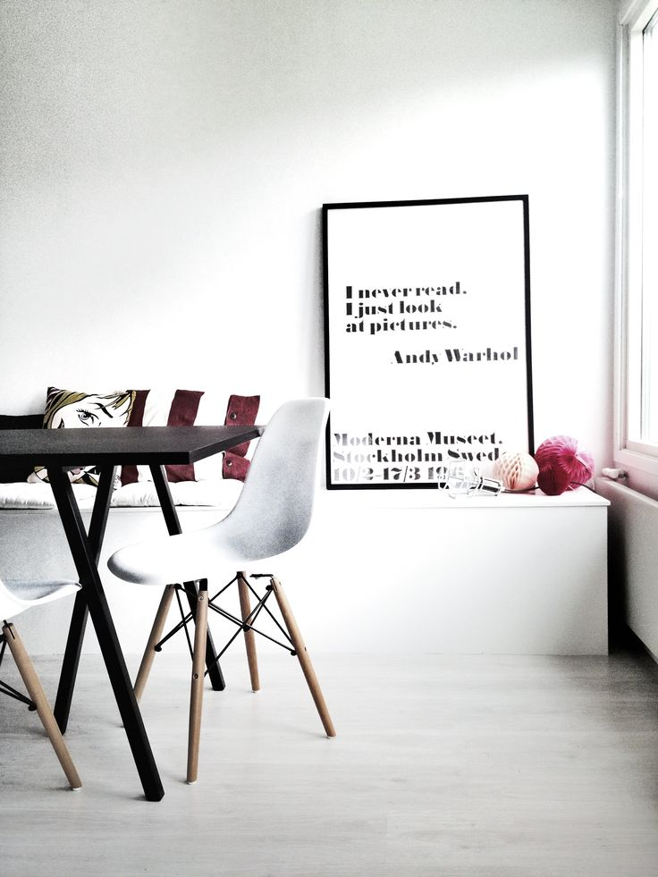 Detail from our diningroom: Andy Warhol poster from Moderna Museet Stockholm, Work Lamp by Design House Stockholm, Hay Loop Table, DSW Eames Chair, Pom Pom from Svea Design Vintage, Pop Art Pillow from Lagerhaus