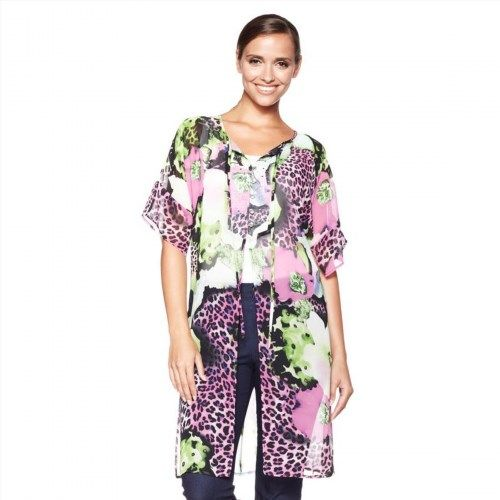 18.78$  Buy here - http://vilyq.justgood.pw/vig/item.php?t=3kzjhai32177 - Antthony Design Camille Allover Tropical Chic Duster Animal Flower S NEW 169-002 18.78$