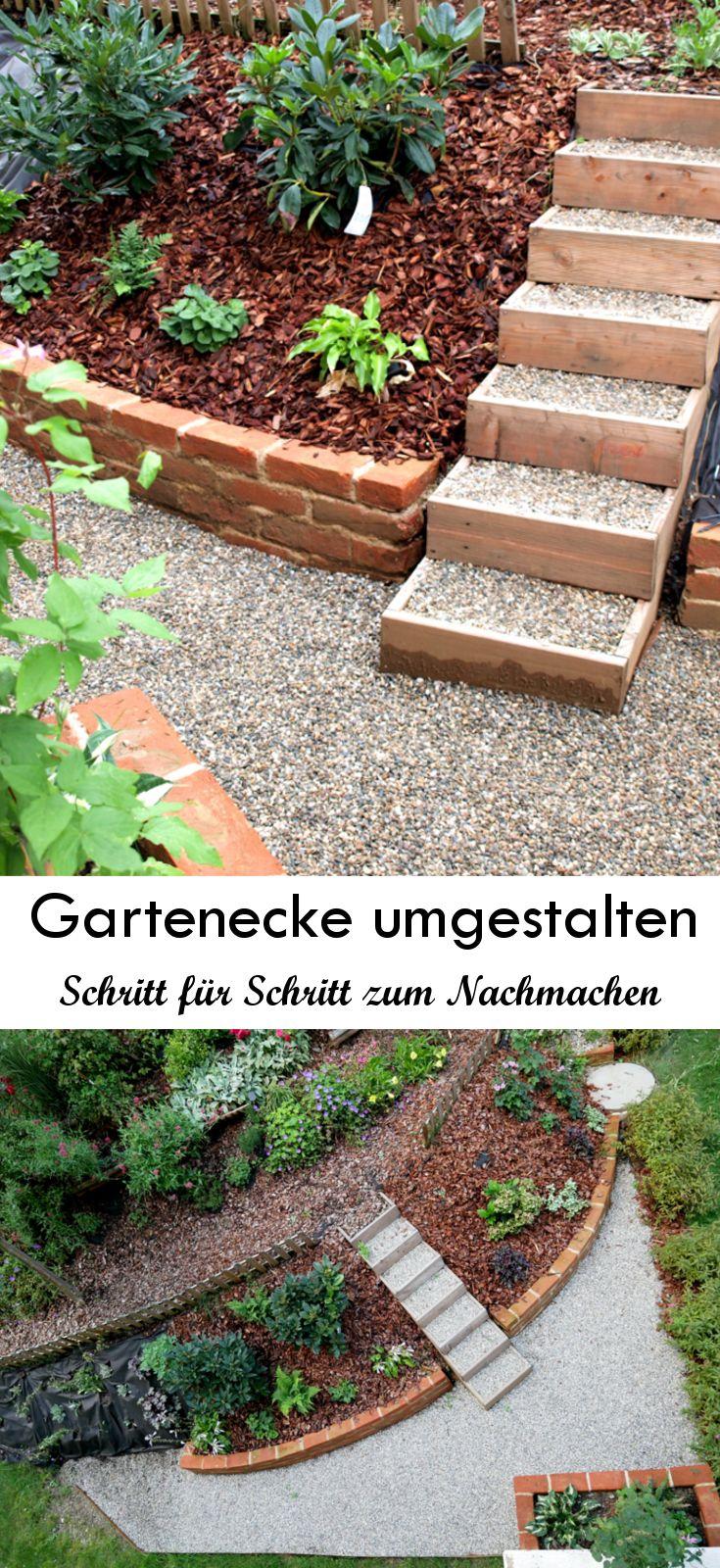 Ich habe eine schattige Gartenecke komplett umgestaltet. Die einzelnen Bauphasen habe ich für euch dokumentiert, damit ihr Teile davon einfach selbst in eurem Garten umsetzen könnt! Lest mehr über andalusische Wandmalerei, Gartenmauern aus Klinkerziegeln, Gartenstufen, Anlegen einer Kiesfläche und Gestaltung eines Schattengartens!  #schattengarten #gartengestaltung #gardening #gartenstufen #gartenmauer #kiesfläche #gardensteps #shadowgarden #gardendesign
