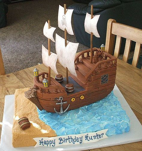 Pirate Ship Cake | The ship is made of rice crispy treats co… | Flickr
