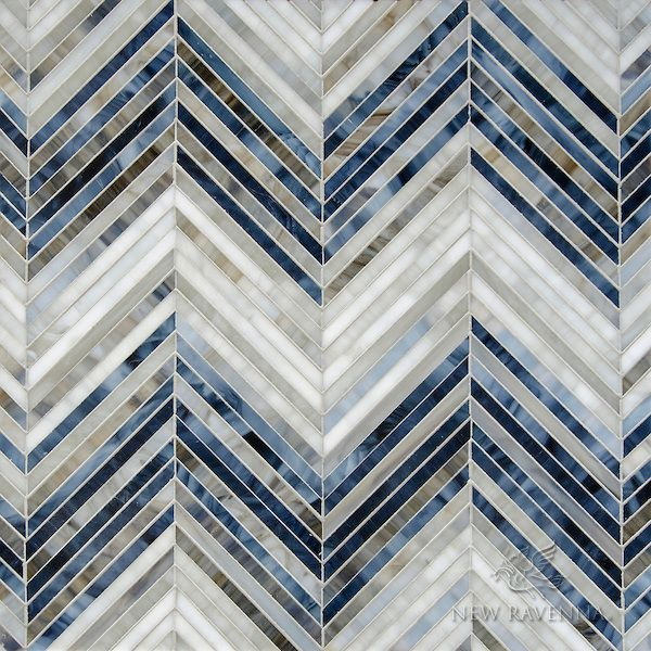 Chevron Marble Rug: Ombre Chevron, A Jewel Glass Mosaic, Shown In Lavastone