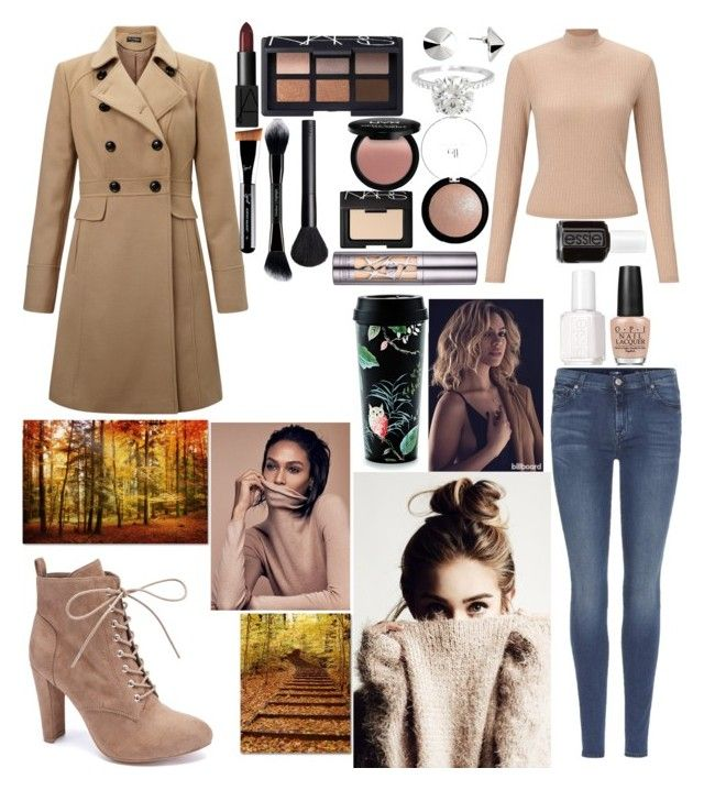 """""""Fall in nude🍁♋🍔"""" by emmatob on Polyvore featuring 7 For All Mankind, Miss Selfridge, Wild Diva, NARS Cosmetics, Vélizance, e.l.f., NYX, Urban Decay, OPI and Essie"""
