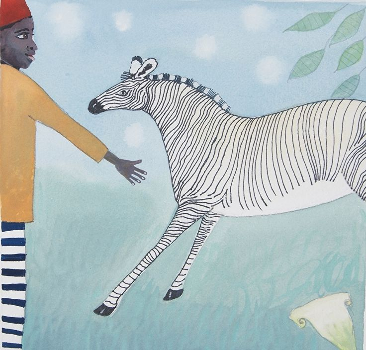 "Zebra Whispering by julia cairns Watercolor ~ 8"" x 8"""