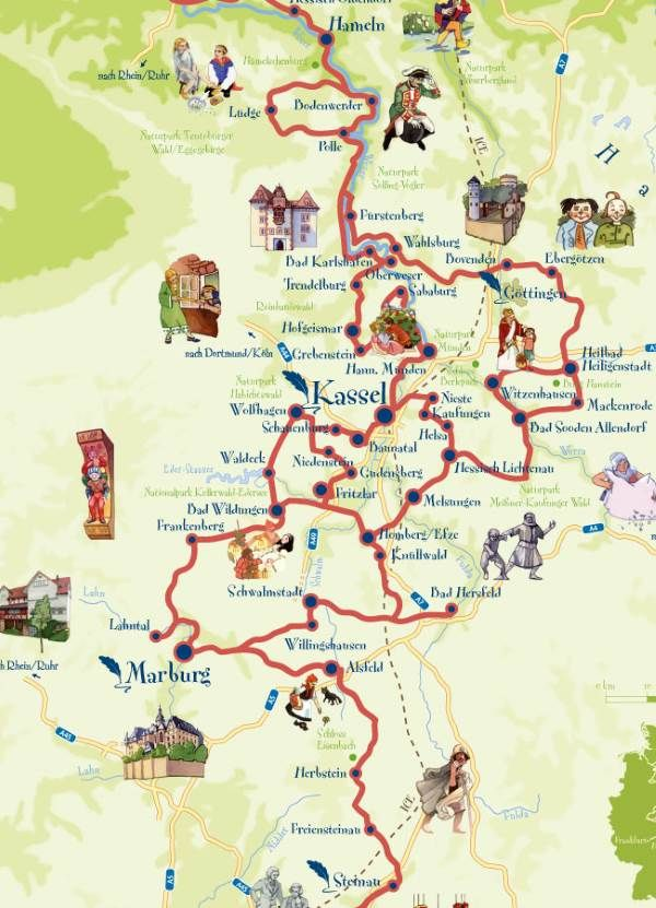 Dortmund Germania Cartina.Strada Delle Fiabe L Itinerario Sulle Orme Dei Fratelli Grimm Greenme Fratelli Grimm Fiabe Grimm