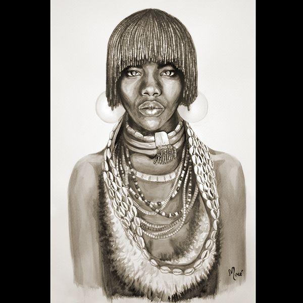 Ethiopy, belleza, mujer, africa, acuarela, arte, raza, cultura