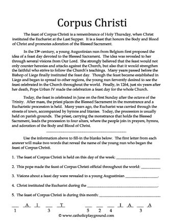 Help kids understand about the Feast of Corpus Christi with this free printable activity sheet!