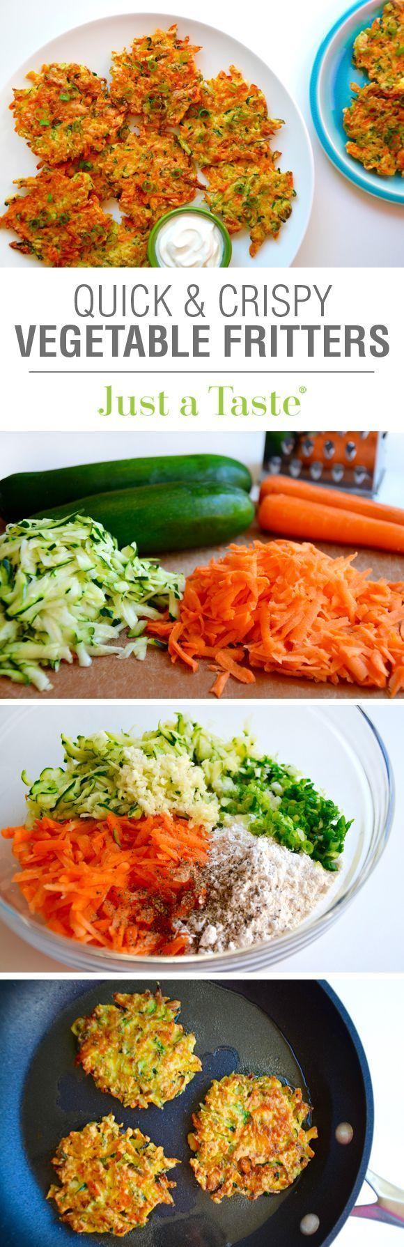 Quick and Crispy Vegetable Fritters recipe via http://justataste.com