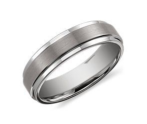 Brushed and Polished Comfort Fit Wedding Ring in Classic Gray Tungsten Carbide (6mm) #bluenile