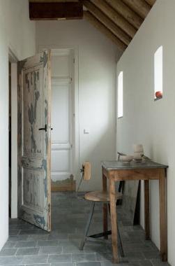 good combo of white and woodPerfect Crisps, The Doors, Doors Surroundings, Rustic Doors, Distressed Doors, Crisps White, Blue Stones, Stones Floors, White Wall