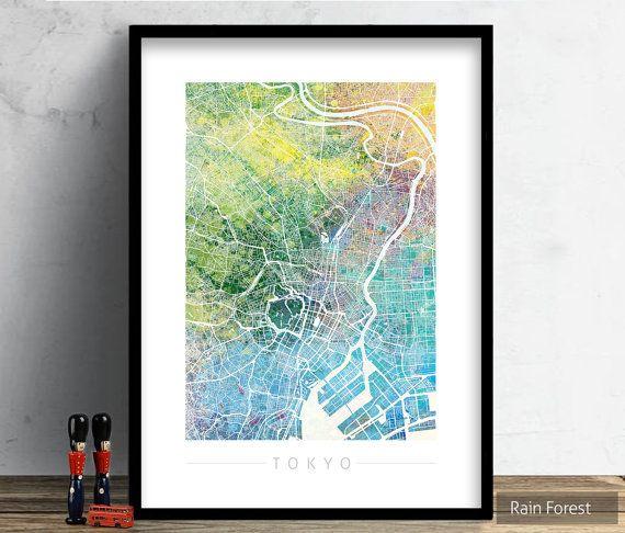Tokyo Map  City Street Map of Tokyo Japan  Art by VelvetPrint