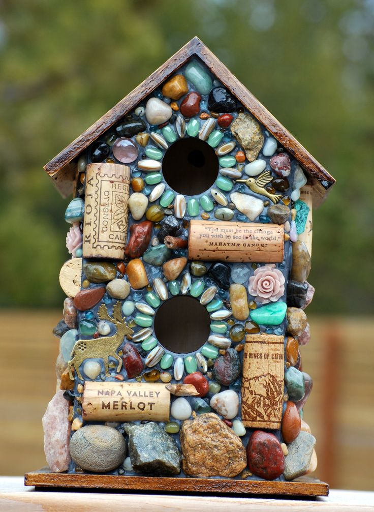 Outdoor Birdhouse and Mosaic Garden Art with colorful stones. $139.50, via Etsy.