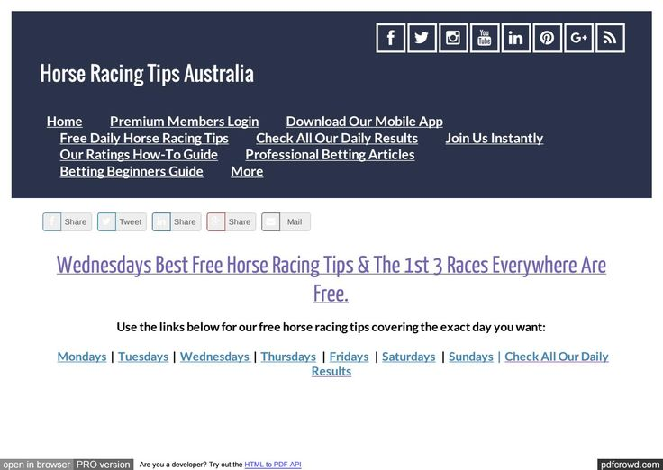 Wednesdays August 2nd Free Horse Racing Tips