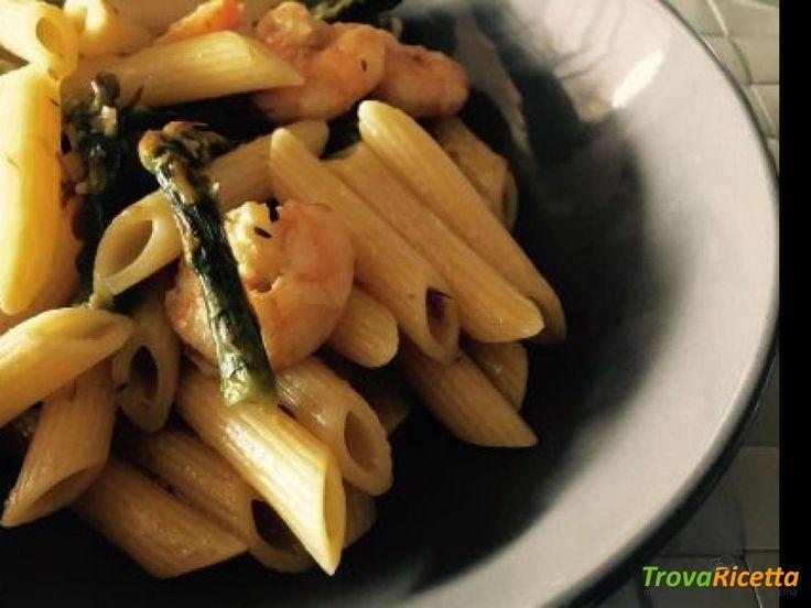 Penne rigate con mazzancolle e asparagi  #ricette #food #recipes