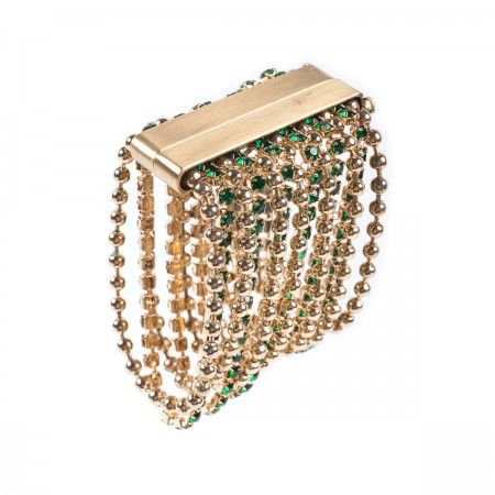 Bracelet Brass ball chain with a row of emerald glitter rhinestones and magnetic clasp.