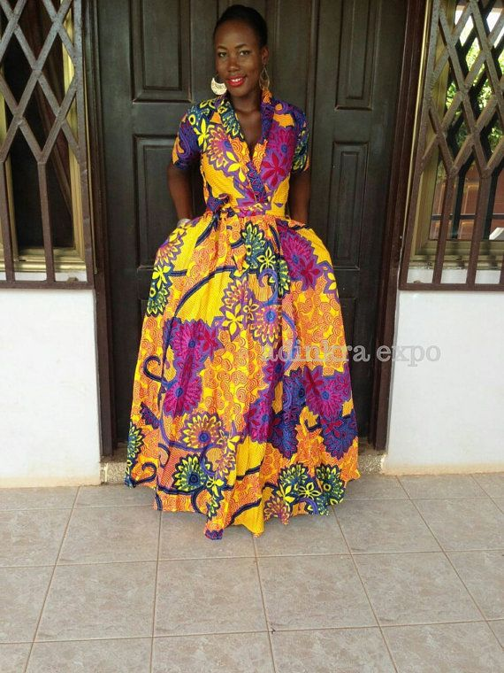 African print wrap dress with tie closure available for custom order. WE DO NOT HAVE THE FABRIC pictured in stock at the moment. You can choose your own print at www.etsy.com/shop/ankaraafricanfabric . Choose from a variety of fabric options. Message us today to get started. These dresses are made to order and take 1-3 weeks for production and 2-3 weeks to ship to most places. DHL is available for an additional fee and takes 4-5 days to the US.  View available fabrics at…