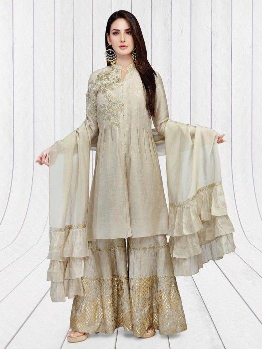 f3645f5675 Beige Hue Linen Festive Sharara Suit, Latest designer Sharara suit for  women. Designer women