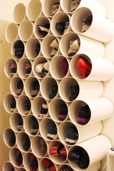 shoe rack made of pvc pipes. In the garage! Yes!