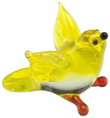 "Amazon.com: Custom & Unique {1/2"" x 5/8"" Inch} 1 Single, Mini Size Home & Garden ""Standing"" Figurine Decoration Made of Grade A Glass w/ Cute Hand Blown Goldfinch Bird Style {Yellow, Clear, & Orange}: Home & Kitchen"