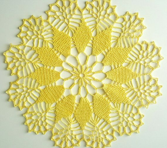 Handmade crochet light yellow doily, yellow lace doily approx. 12 inches