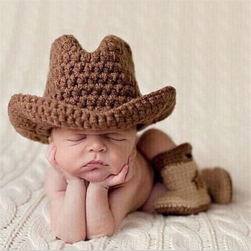 Crochet Newborn Photography Boy Infant Knit Cowboy Hats BOOTS Baby Photo Props | eBay