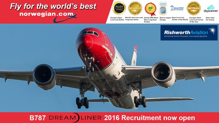 http://ow.ly/SOOZV  Congratulations to our client Norwegian for being voted Best in Europe at the prestigious Passenger Choice Awards. Don't miss out on the opportunity to fly for this multi-award winning airline. 2016 B787 Captain and First Officer recruitment is now open!    #RishworthAV #pilotjobs