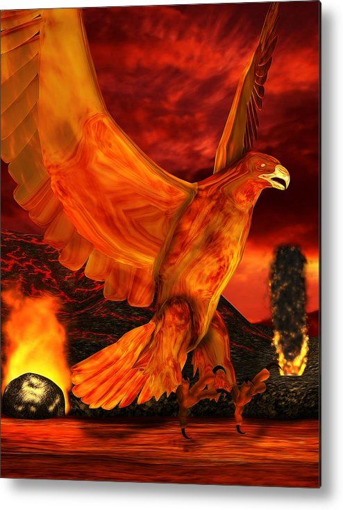 Phoenix Metal Print featuring the digital art Myth Series 3 Phoenix Fire by Sharon and Renee Lozen