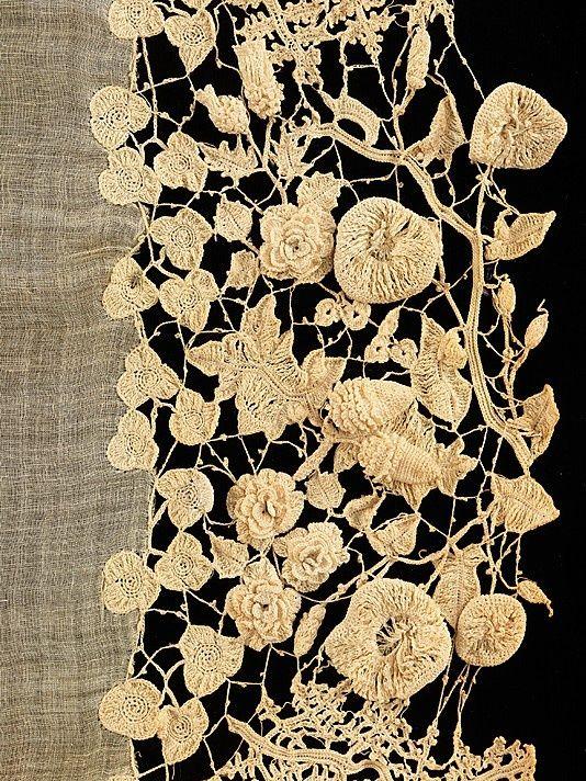 irish lace, part of a wedding dress 1850 - 70 thin as a petal, stunning works