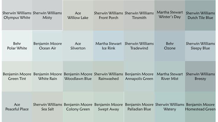 blue green gray Colors I like, trade wind, ocean air, white rain, rain washed, river mist, breezy, peaceful place, sea salt, Palladian blue, watery