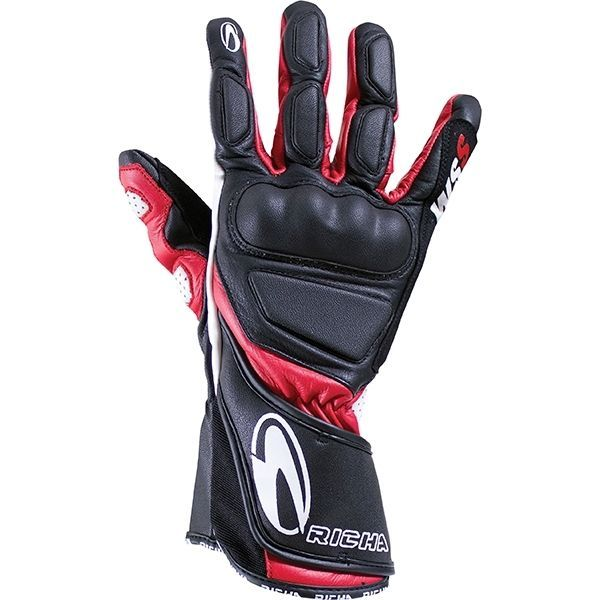 Richa WSS Leather Sports Summer Racing Motorcycle Gloves Black/Red