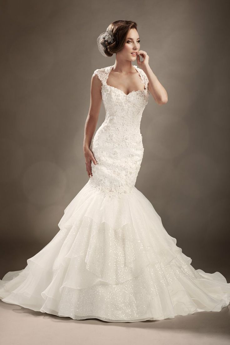 country glam wedding country chic wedding dresses Lis Simon Queen Anne NecklineBridal GownsMermaid