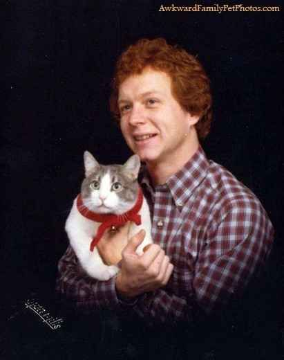 Fantastic Christmas card, Steven. | 31 Absurd Pictures Of Men With Their Pets
