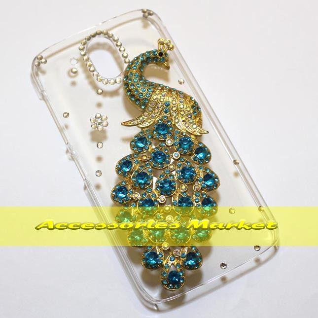 For HTC Desire 526 526G Case Cover, Handmade Bling Peacock Phone Case Cover For HTC Desire 526 526G