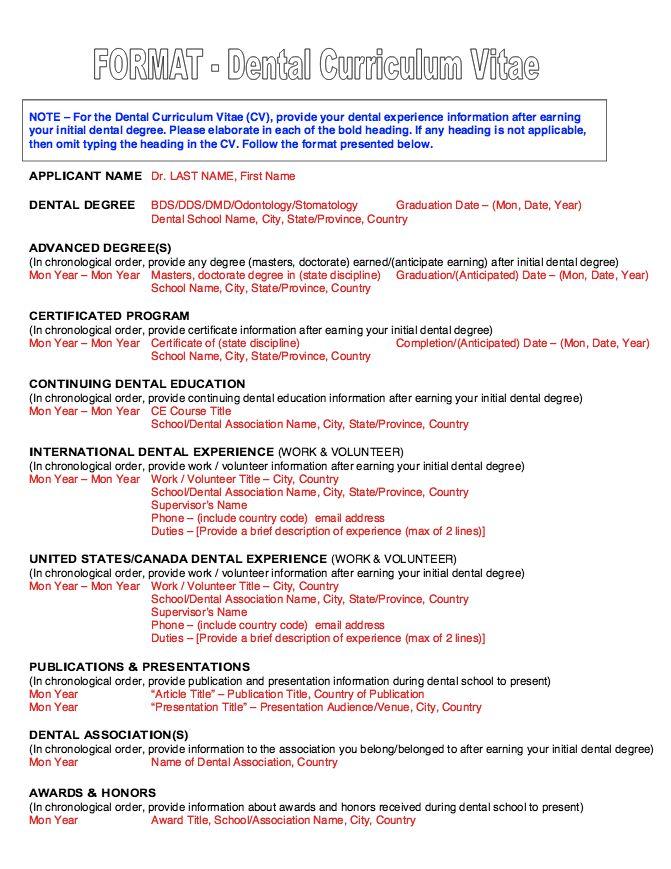 Resume Format For Dental - http://resumesdesign.com/resume-format-for-dental/