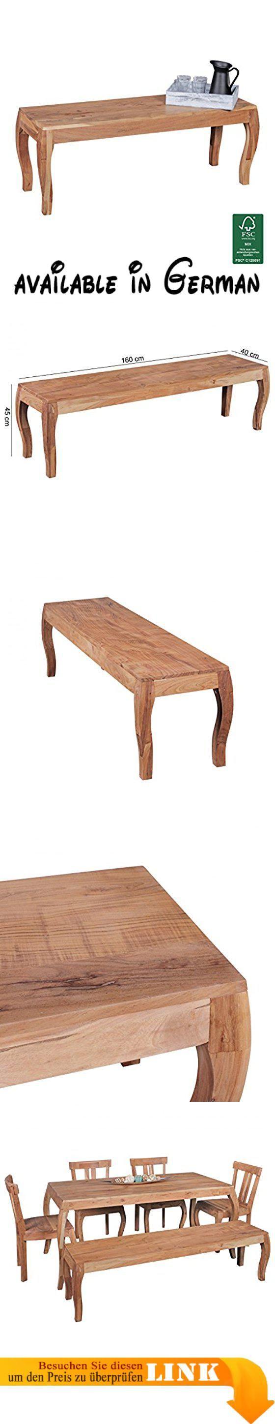 B06XSR3TLB : Esszimmerbank Holz Akazie Massiv 160 cm ohne Lehne | Sitzbank Esszimmer Barock Style | Küchenbank für 4 Personen freistehend Natur. Die Einzigartige Maserung des Akazien Holzes macht jede Bank zu einem Unikat. Abmessungen der Sitzbank: Länge: 160cm Tiefe: 40 cm Höhe: 45cm | Ideal für 4 Personen. ECHTHOLZ  Die Bank besteht aus massivem Akazienholz - Die Oberfläche ist mit Schutzlack versiegelt. NACHHALTIG  FSC zertifizierte Ware