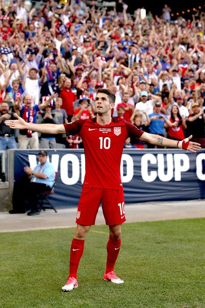 Christian Pulisic #10 of the U.S. National Team celebrates scoring a goal against Trinidad