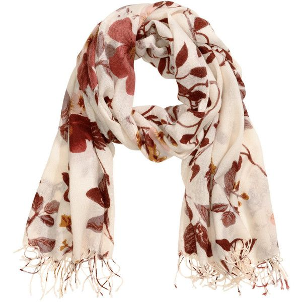 H&M Patterned scarf found on Polyvore featuring accessories, scarves, h&m, print scarves, patterned scarves, short scarves and fringe scarves