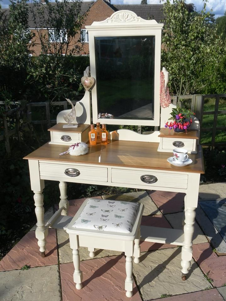 Another lovely Dressing Table, by talented Marie Nash 'Our latest project is this stunning Edwardian oak dressing table; bought at a local auction, it was looking very sad and sorry for itself. However, with a bit of Annie Sloan and tender care, it is now ready to be loved once again x'