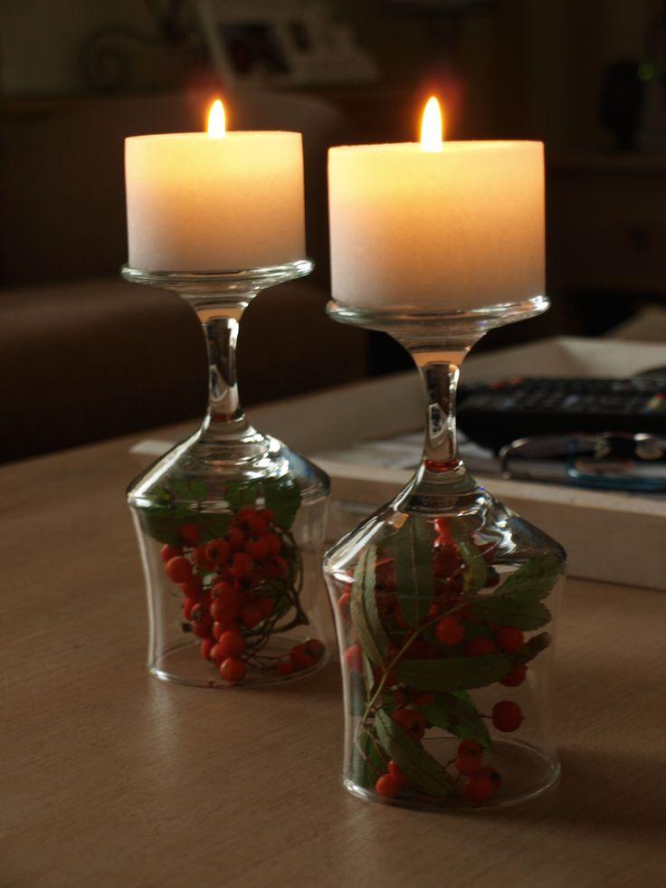 Viinilaseista kynttilänjalat #fall #wineglass #candle #diy